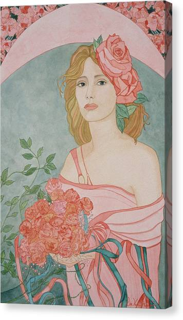 Art Nouveau Roses Canvas Print