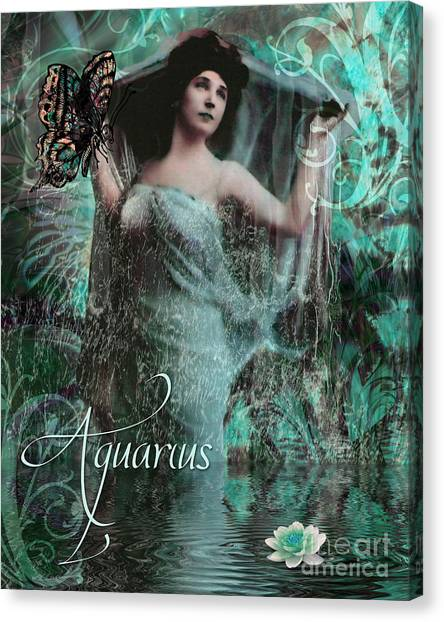 Uranus Canvas Print - Art Nouveau Zodiac Aquarius by Mindy Sommers