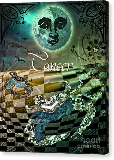 Under The Moon Canvas Print - Art Nouveau Zodiac Cancer by Mindy Sommers