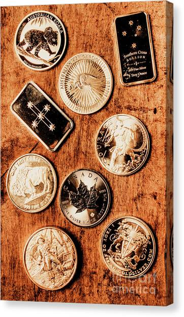 Coins Canvas Print - Art Of A Sliver Collector by Jorgo Photography - Wall Art Gallery