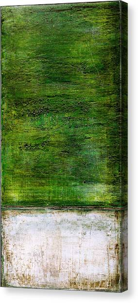 Canvas Print featuring the painting Art Print Green White by Harry Gruenert