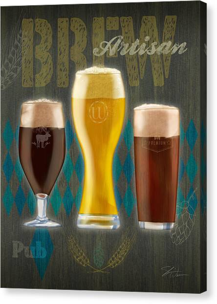 Craft Beer Canvas Print - Artisan Brew by Shari Warren