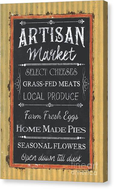 Meat Canvas Print - Artisan Market Sign by Debbie DeWitt