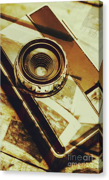 Vintage Camera Canvas Print - Artistic Double Exposure Of A Vintage Photo Tour by Jorgo Photography - Wall Art Gallery