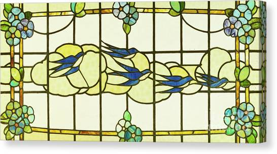 Swallows Canvas Print - Arts And Crafts Panel Of A Group Of Swallows Before Clouds In A Border Of Flowers by English School