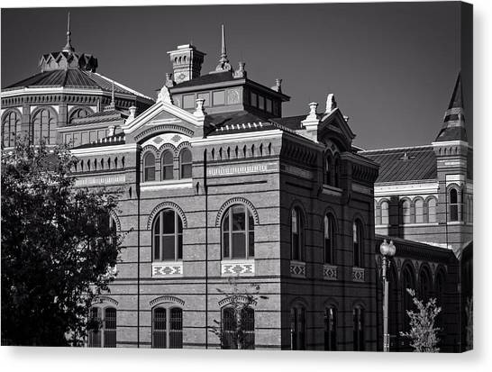 Smithsonian Museum Canvas Print - Arts And Industries Building In Black And White by Greg Mimbs