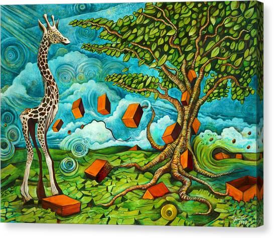 As High As Giraffe Bus Canvas Print