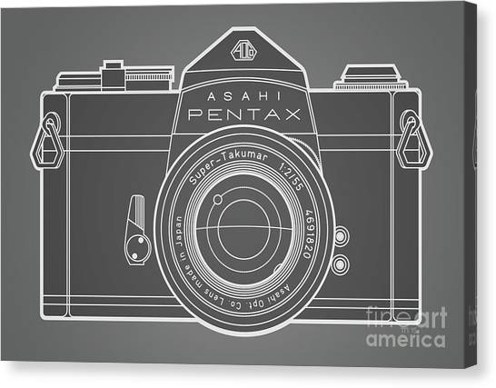 Analog Canvas Print - Asahi Pentax 35mm Analog Slr Camera Line Art Graphic White Outline by Monkey Crisis On Mars