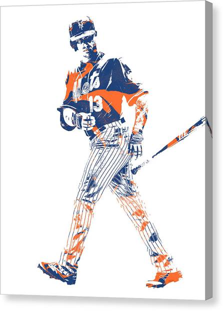 New York Mets Canvas Print - Asdrubal Cabrera New York Mets Pixel Art 1 by Joe Hamilton