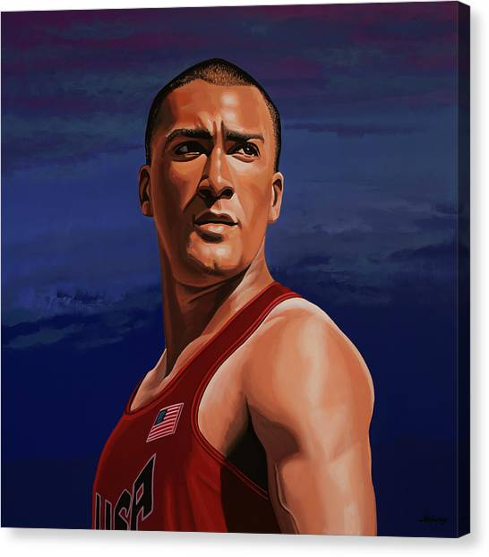 Athlete Canvas Print - Ashton Eaton Painting by Paul Meijering