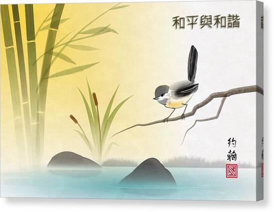Asian Art Chickadee Landscape Canvas Print