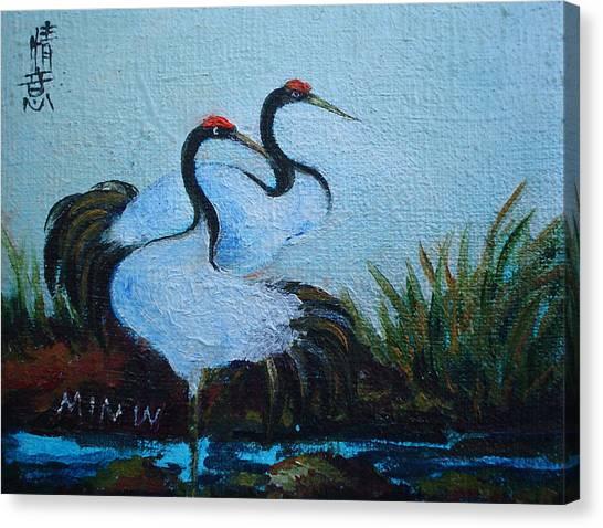 Asian Cranes 2 Canvas Print by Min Wang