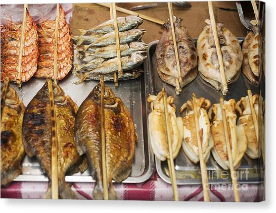 Asian Grilled Barbecued Seafood In Kep Market Cambodia Canvas Print