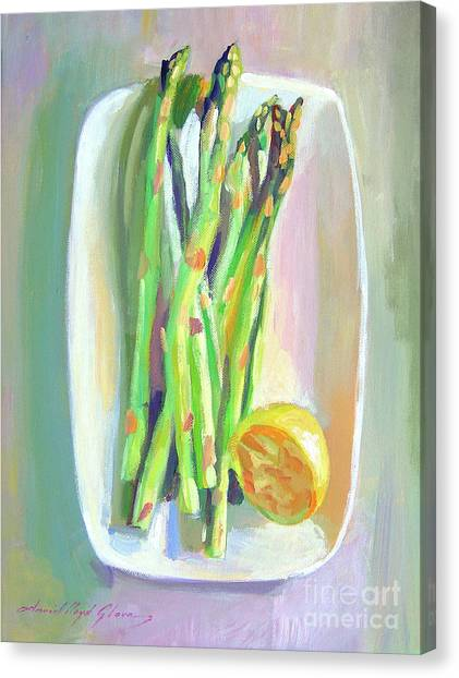 Asparagus Canvas Print - Asparagus Plate by David Lloyd Glover