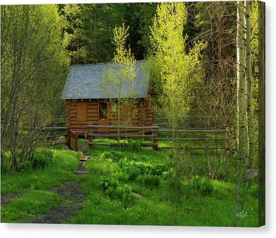 Log Cabin Canvas Print - Aspen Cabin by Leland D Howard