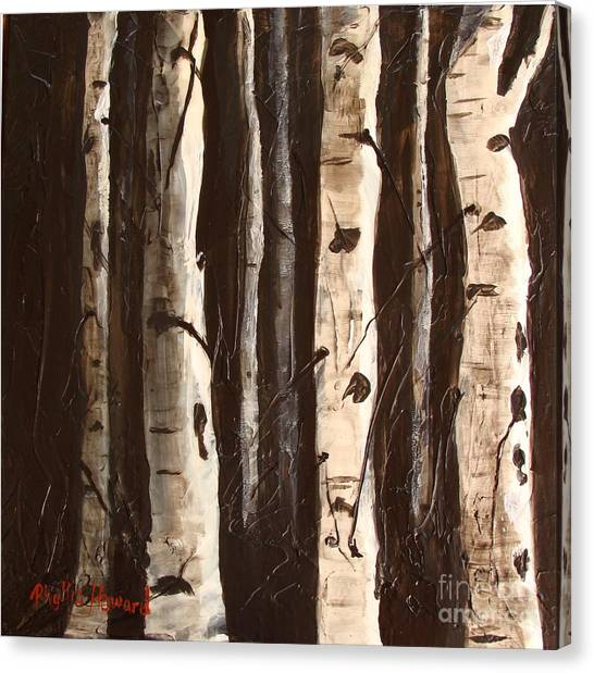 Canvas Print featuring the painting Aspen Stand by Phyllis Howard