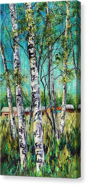 Aspens On The Farm Canvas Print