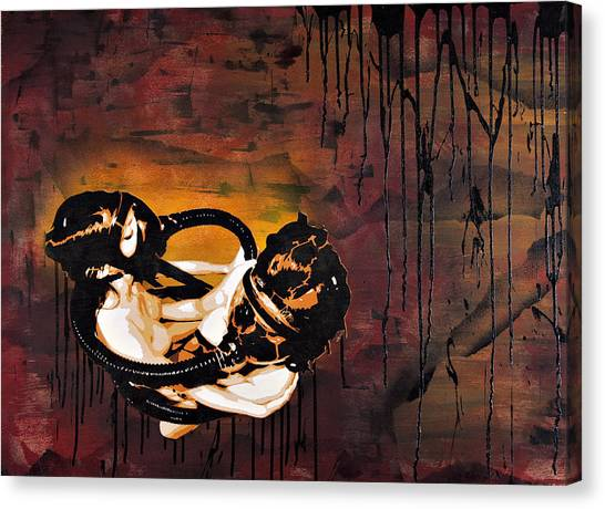 Print On Canvas Print - Asphyxiation By Oil Dependency by Tai Taeoalii