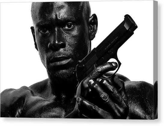 Muscles Canvas Print - Assassin In Black And White by Val Black Russian Tourchin