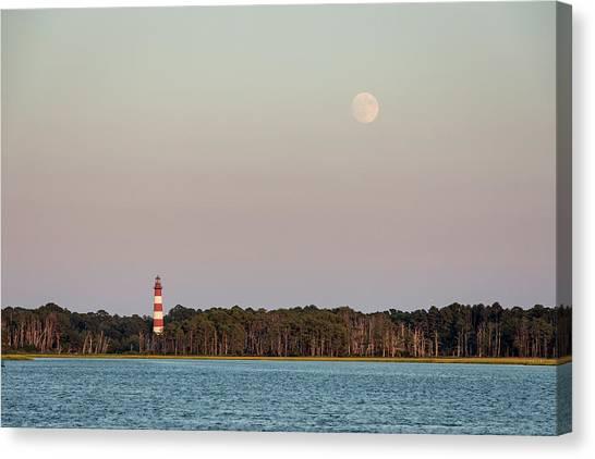 Assateague Light And The Full Moon Canvas Print