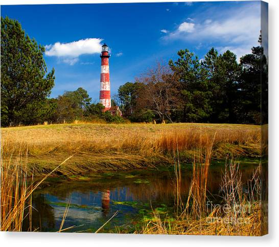 Assateague Lighthouse Reflection Canvas Print