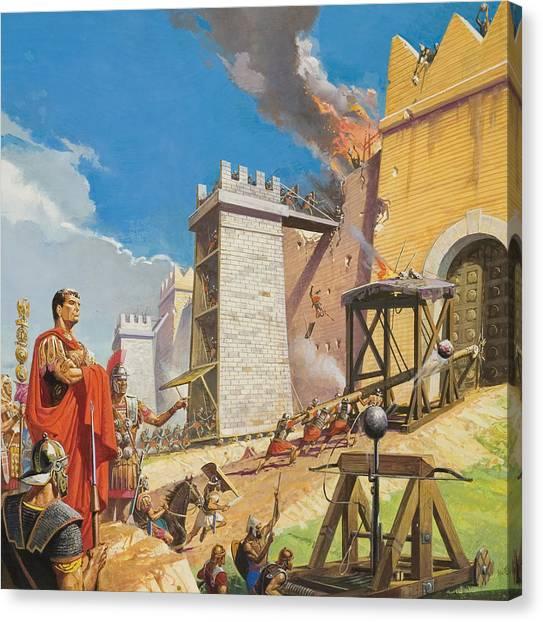 The Legion Canvas Print - Assault On Carthage by Severino Baraldi