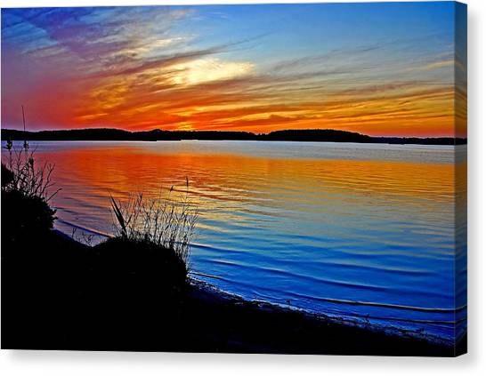 Assawoman Bay At Sunset Canvas Print