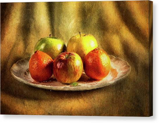Assorted Fruits In A Plate Canvas Print