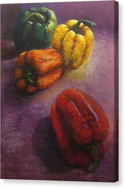 Assorted Peppers Canvas Print by Tom Forgione