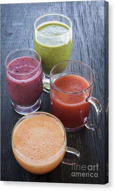 Smoothie Canvas Print - Assorted Smoothies by Elena Elisseeva
