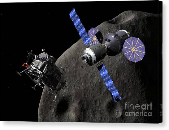 Planetoid Canvas Print - Asteroid Lander Departs From Deep Space by Walter Myers