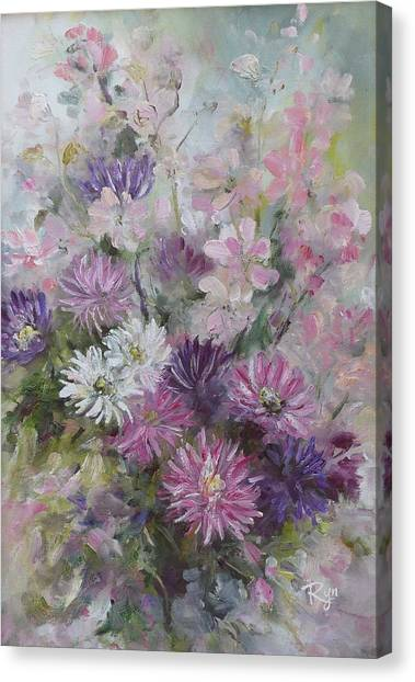 Asters And Stocks Canvas Print