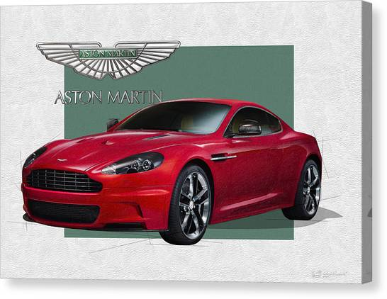 Sports Cars Canvas Print - Aston Martin  D B S  V 12  With 3 D Badge  by Serge Averbukh