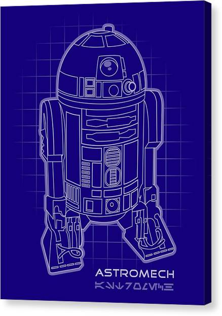 Droid Canvas Print - Astromech Blueprint by Edward Draganski