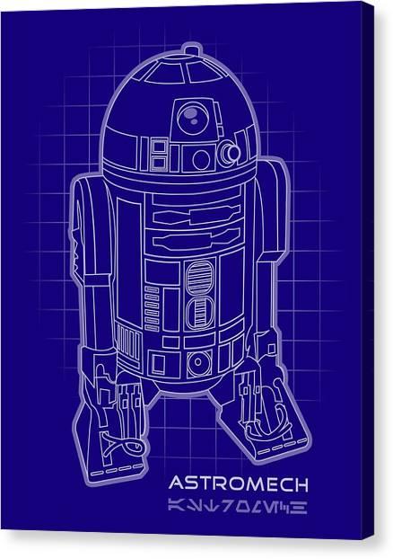Star Wars Canvas Print - Astromech Blueprint by Edward Draganski