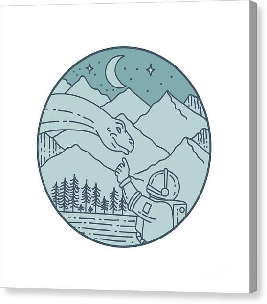 Brontosaurus Canvas Print - Astronaut Brontosaurus Moon Stars Mountains Circle Mono Line by Aloysius Patrimonio