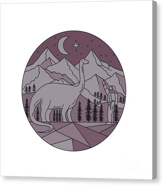 Brontosaurus Canvas Print - Astronaut Brontosaurus Mountain Moon Circle Mono Line by Aloysius Patrimonio