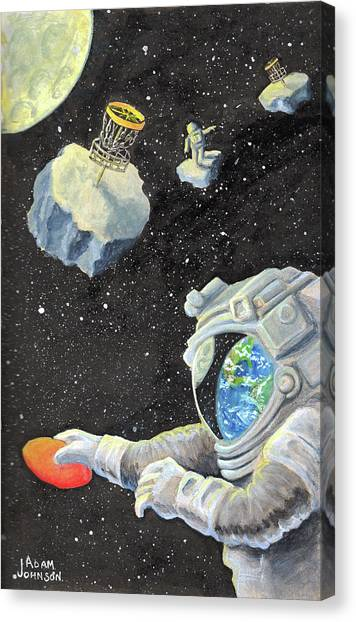 Disc Golf Canvas Print - Astronaut Disc Golf by Adam Johnson