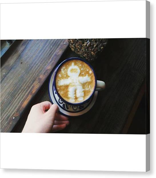 Astronauts Canvas Print - #astronaut #espresso #latte #latteart by Jennifer Alarcon