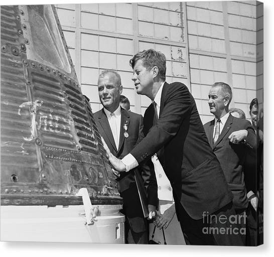Lyndon Johnson Canvas Print - Astronaut John Glenn, President John Kennedy And Vice-president Lyndon Johnson by The Titanic Project