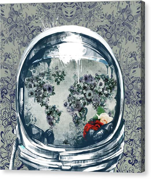 Science Fiction Canvas Print - Astronaut World Map 5 by Bekim Art