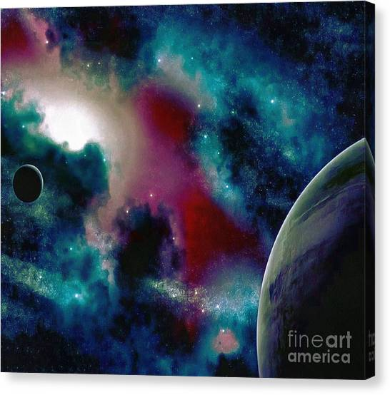 Astronomy Painting Glammed Out Teal Canvas Print