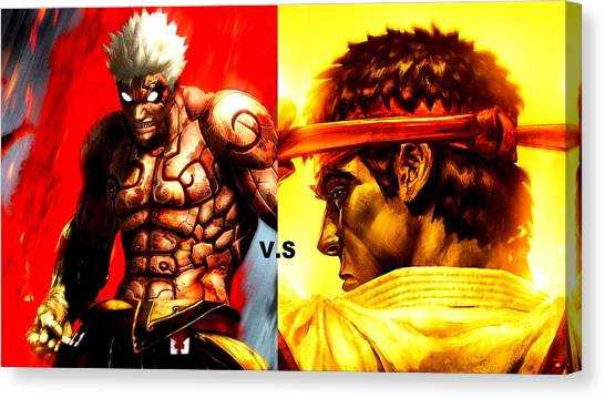 Street Fighter Canvas Print - Asura's Wrath Street Fighter by Maye Loeser