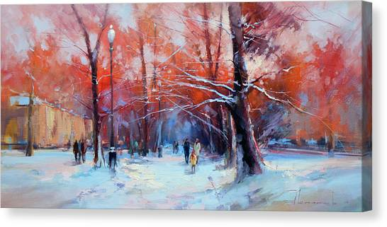 Moscow Canvas Print - At Dawn On Tverskoy Boulevard by Alexey Shalaev