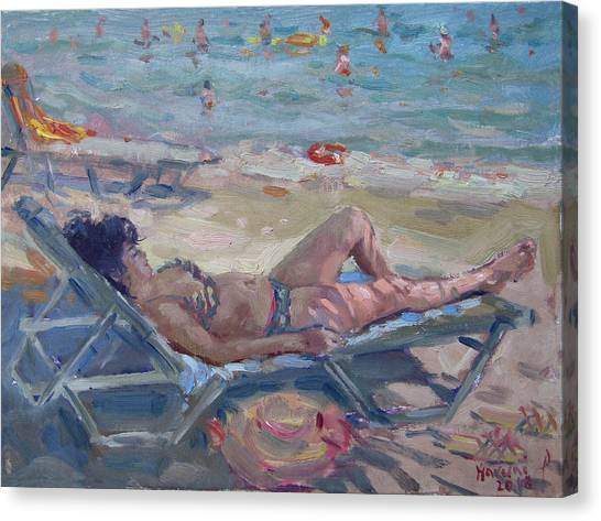 Athens Canvas Print - At Dilesi Beach Athens by Ylli Haruni