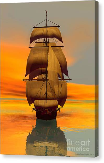 Canvas Print featuring the digital art At Full Sail by Sandra Bauser Digital Art