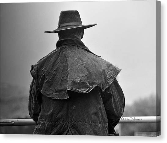 At Home On The Range #3 Black And White Canvas Print