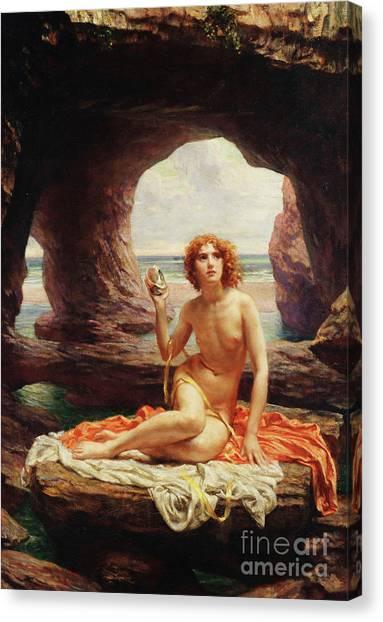 Fantasy Cave Canvas Print - At Low Tide by Sir Edward John Poynter