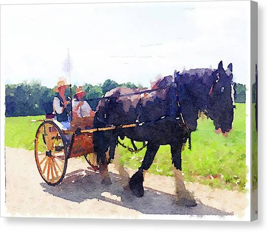 Canvas Print - Horse And Buggy At Mount Vernon by Charles Kraus