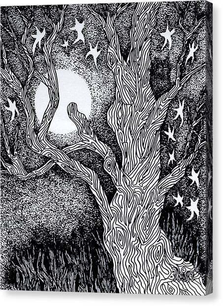 At Night Beside The Twisted Tree Canvas Print